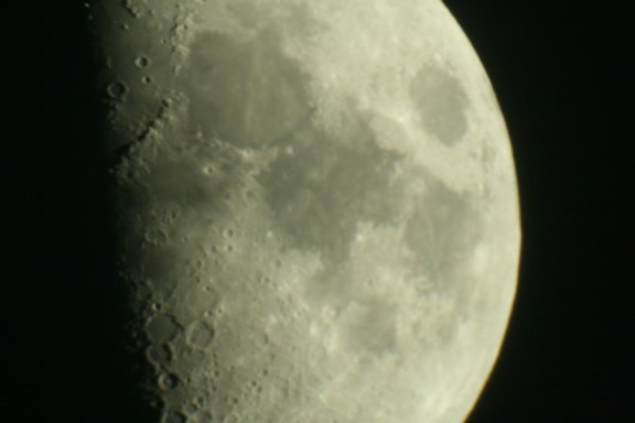 Moon taken with the Canon 400D using prime focus with barlow 2x lens