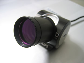 SPC900 Webcam with Eyepiece adaptor attached