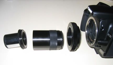 SLR Camera Parts in a row with eyepiece adaptor