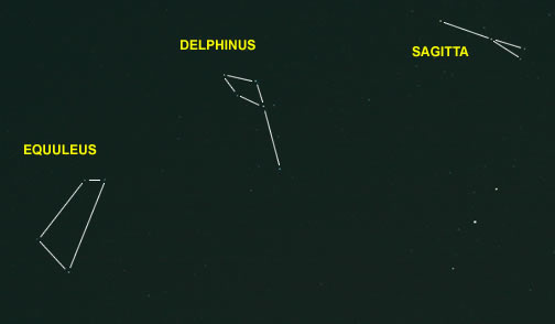 Delphinus, Equuleus and Sagitta Outline Photo
