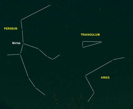 Perseus Asterism with Outlines