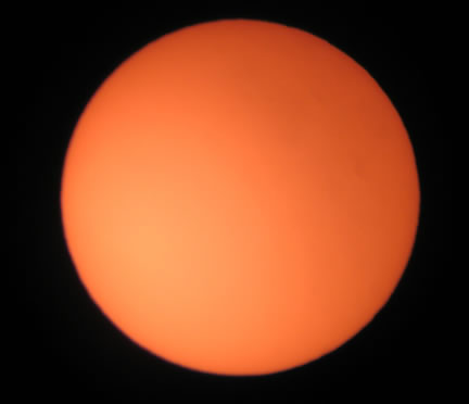 The Sun with 40mm Eyepiece taken using Canon IXUS500
