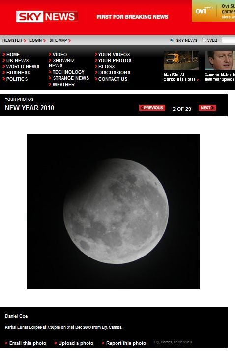 Lunar Moon Eclipse on Sky News Website