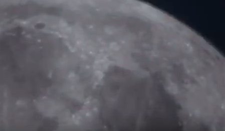 John Lewis telescope zoomed in on moon