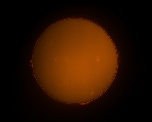Solar Image with Coronado PST and Canon 550D Handheld Unguided
